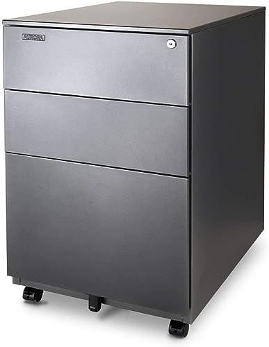 Aurora FC-103MB Modern SOHO Design 3-Drawer Metal Mobile File Cabinet