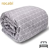 20 lbs | Premium Weighted Blanket For Adults by rocabi | 60 x 80' | Removable Cover | Soft Minky | XL Queen | Natural Sleep Aid | Sensory Blanket | Washable Cover | Reduce Anxiety | Low Tech