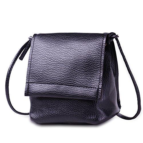 Faysting EU nero grande clamshell forma borsa a spalla borsa a tracolla per donna pelle lunga spallina buon regalo san valentino