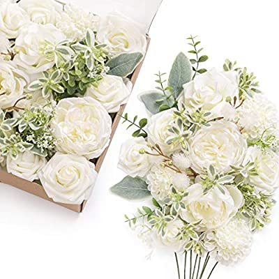 Ling S Moment Timeless Ivory Wedding Artificial Flowers Box Set For Diy Wedding Bouquets Centerpieces Arrangements Party Baby Shower Home Decorations Amazon Sg Home