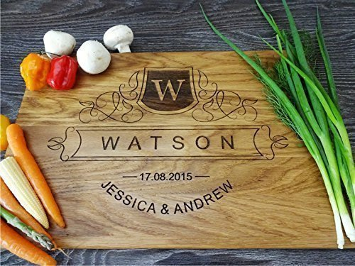 Personalized cutting board Monogram with Family name, names, date. Handmade cutting board