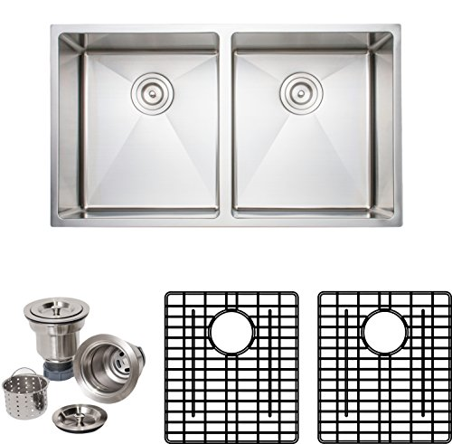 Wells Sinkware CSU3319-99-1 Commercial Grade 16-Gauge Handcrafted Double Bowl Undermount Kitchen Sink Package, Stainless Steel