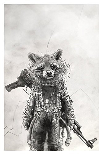 My Raccoon dresses like an astronaut and barks at trees Giclee print from a pencil drawing]()