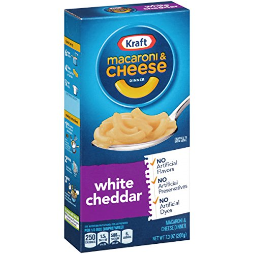Kraft Macaroni and Cheese Dinner, White Cheddar, 7.25 Ounce Box (Pack of 8 Boxes)