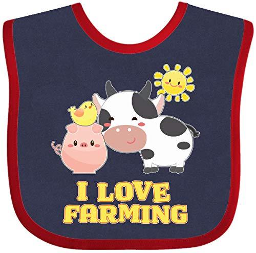 Inktastic - I Love Farming- farm animals Baby Bib Navy and Red 2fbcc