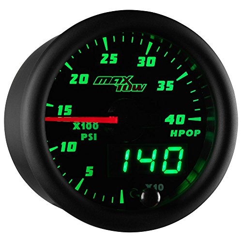 MaxTow Double Vision 4,000 PSI High Pressure Oil Pressure HPOP Gauge - for 1994-2003 7.3L & 2003-2007 6.0L Ford Power Stroke Diesel Engines - Black Gauge Face - Green LED Dial - 2-1/16