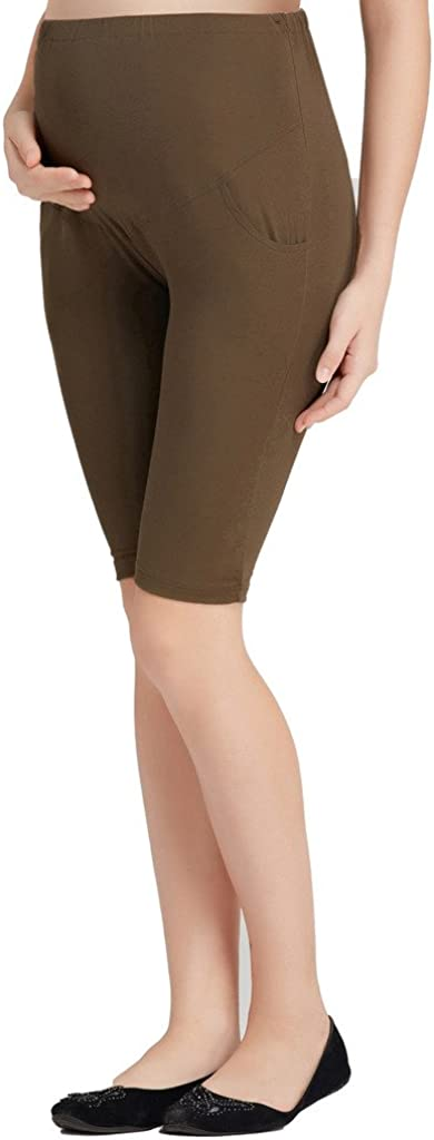 Liang Rou Maternity Belly Support Mini-Ribbed Stretch Short Leggings
