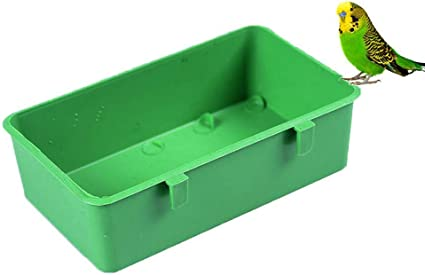 TEHAUX 5Pcs Bird Cage Bath Bird Parrot Bath Tub Shower Box Feeding Bowl with Hooks Cage Accessory for Small Brids Canary Budgies Parrot Green