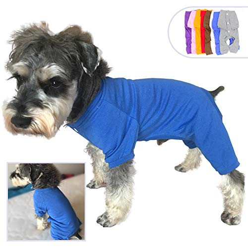 lovelonglong 2019 Pet Costumes Pajamas for Small Dogs 100% Cotton Puppy Dog Four Legs Jumpsuit Teddy 4 Feet for Miniature Schnauzer Blue -