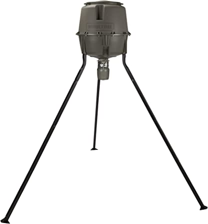 Moultrie 30 Gallon Spin Cast Deer Feeder Tripod 200 Pound Capacity Molded Plastic Tools-Free Assembly