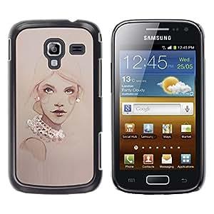 Caucho caso de Shell duro de la cubierta de accesorios de protección BY RAYDREAMMM - Samsung Galaxy Ace 2 I8160 Ace II X S7560M - Design Pearls Woman Art Painting