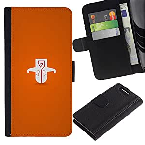 UberTech / Sony Xperia Z1 Compact D5503 / Orange Skim Cartoon Drawing Character / Cuero PU Delgado caso Billetera cubierta Shell Armor Funda Case Cover Wallet Credit Card