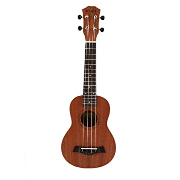 21 pulgadas Soprano Ukulele guitarra eléctrica acústica de 4 cuerdas Guitarra Ukelele artesanal de madera de caoba blanca Guitarrista caliente Plug-in: ...
