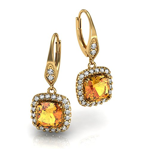 (18k Yellow Gold- Vintage Pierced Earrnigs with Diamond and Citrine)