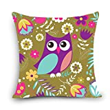 MAYUAN520 Cushion、Decorative Pillows Lovely Owl Cushion Cover Polyester&Linen Decorative Pillows 45X45Cm Throw Pillow Sofa Seat Back Cushions Cojines,450Mm450Mm,Light Green