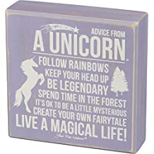 Primitives by Kathy Advice from a Unicorn 6 in x 6 in Purple Wooden Box Sign