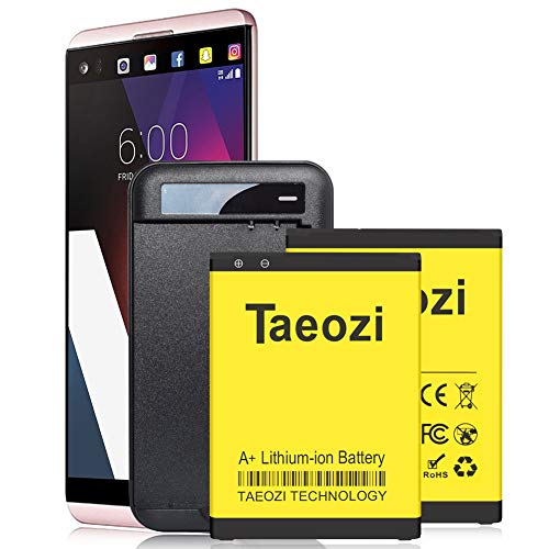 Ac Charger Spare Battery - LG V20 Battery Charger, Taeozi 2 x 3300mAh Li-ion Replacement Battery for LG V20 BL-44E1F H910 H918 LS997 US996 VS995 with V20 Spare Battery Travel Ac Charger [ 365 Day Warranty ]