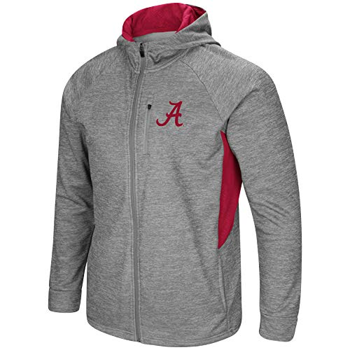 Colosseum Men's NCAA-Night Game-Full Zip-Up Hoodie Jacket-Heathered-Alabama Crimson Tide-Large