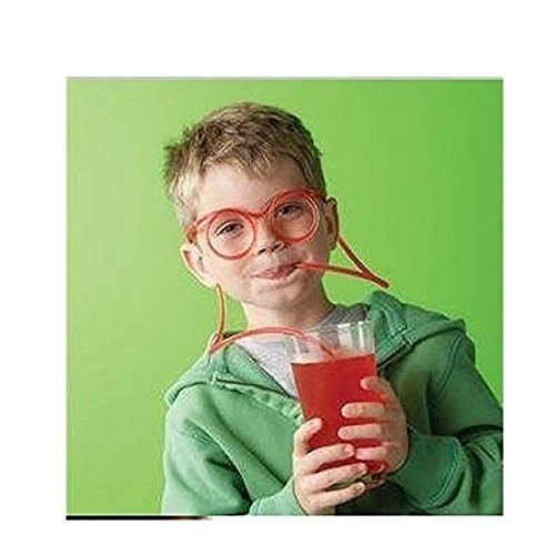 Generic Crazy Funky Drinking Straw Glasses Novelty Tube Joke Fun Children Party Clear