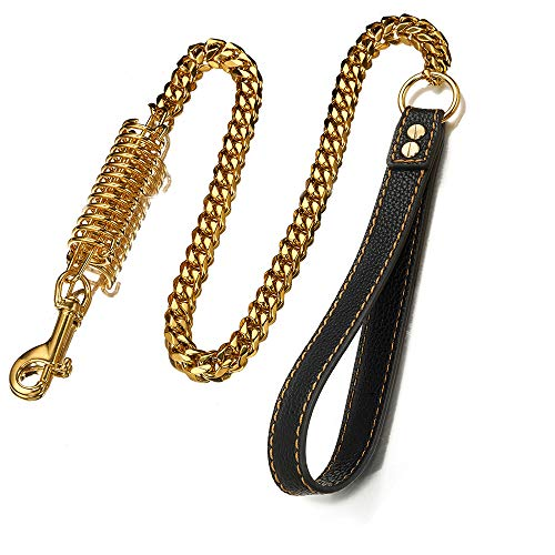 GZMZC 3FT Strong 15mm Stainless Steel Cuban Link Chain Dog Leash Labor-Saving Spring Genuine Leather Handle for Large & Medium Size Dogs Outside Walking(Gold)