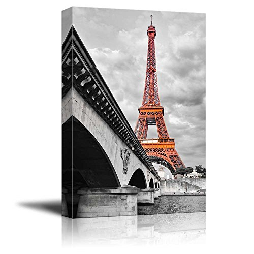 Pop of Color the Eiffel Tower in Paris Red Color Stands out against Black and White Background