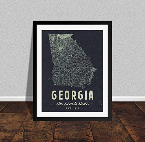 Les Connie Georgia Map Print Georgia Art Georgia Home Decor Georgia Gift Southern Home Decor Farmhouse Print Georgia ()