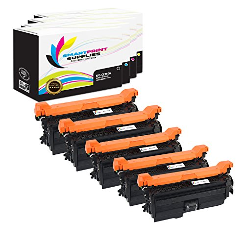 Smart Print Supplies Compatible 647A Toner Cartridge Replacement for HP Laserjet CP4025 CP4525 Printers (CE260A Black, CE261A Cyan, CE262A Yellow, CE263A Magenta) - 5 Pack