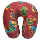 SARA NELL Memory Foam Neck Pillow Mexican Skull Pattern U-Shape Travel Pillow Ergonomic Contoured Design Washable Cover For Airplane Train Car Bus Office