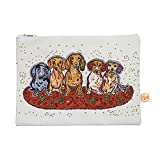 Kess InHouse Maksim Murray Enzo Ruby and Willy Everything Bag Flat Pouch by Rebecca Fischer, 8.5 x 6 Inches, Daschunds (RF1011AEP01)
