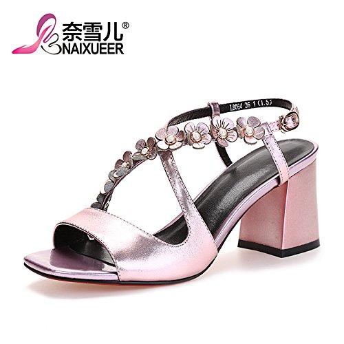 Las mujeres de verano sandalias Tacones Zapatos impermeables verde,37 Pink