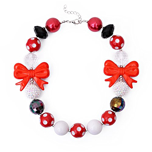 Wxbox Beautiful Bow Necklace Used In Kid's Halloween Party Dress Up Chunky Bubblegum Beaded Necklace - Bubblegum Baby Costume