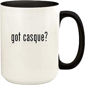 got casque? - 15oz Ceramic Colored Handle and Inside Coffee Mug Cup, Black