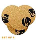 Cheap Coaster Set of 4 – Protect Modern Home Furnishings with Absorbent Cork Table Coasters for Bottom of Beverage (Circle)