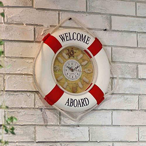 - LTTA Wall Clocks - Mediterranean Style Painting Cloth Lifebuoy Clock 1PC Needle Wall Clocks Home Decor Pendant 1 PCs