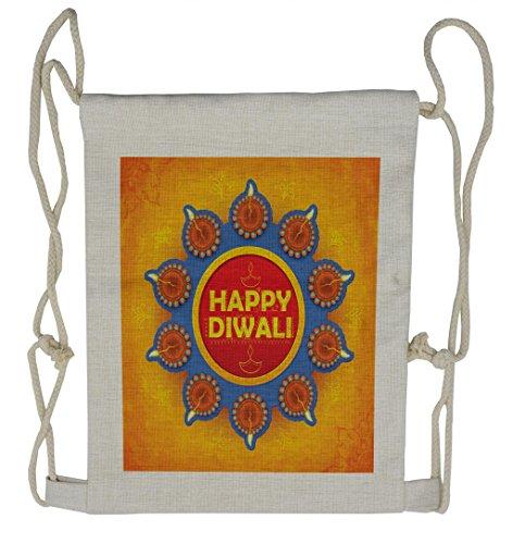 Lunarable Diwali Drawstring Backpack, Warm Colored Celebration, Sackpack Bag by Lunarable