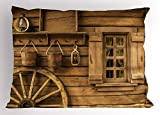 Ambesonne Western Pillow Sham, Ancient Old Wagon Wheel Next to Rustic Wooden House Vintage Lantern Window Buckets Print, Decorative Standard Queen Size Printed Pillowcase, 30 X 20 inches, Brown