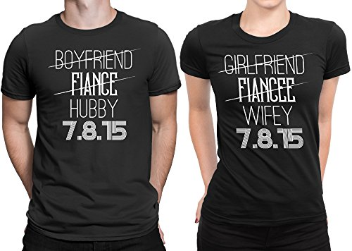 215e83d7e Hubby Wifey Newly Married Couple Matching T-shirt Honeymoon valentines Day