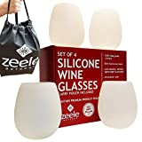 Silicone Wine Glasses Set of 4 - Largest at 20 oz - Clear Silicone, Unbreakable, 100% Food Grade, BPA FREE - Convenient Carry Pouch Included - For BBQ, Parties, Camping, Pool, Beach, Concerts, Games
