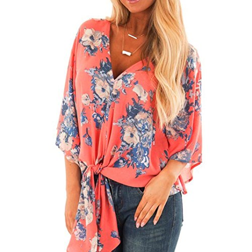 Doric Womens Fashion Half Sleeve Chiffon Print T-Shirt Blouse Tank Tops