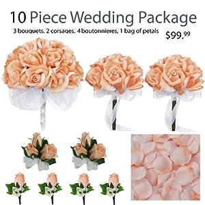 10 Piece Wedding Package - Silk Wedding Flowers - Bridal Bouquets - Peach Bouquets 116