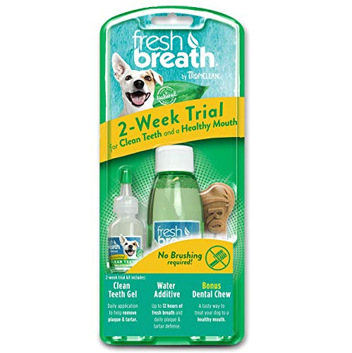 TropiClean Fresh Breath Dog Dental Care 2-Week Trial Kit for Dogs with 0.5 oz. Clean Teeth Oral Care Gel, 4 oz. Water Additive & Dental Chew - Made in The U.S.a