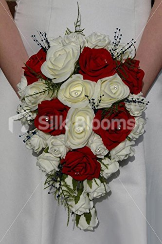 Silk Blooms Ltd Burgundy Red & Ivory Rose Cascading Bridal Wedding Bouquet