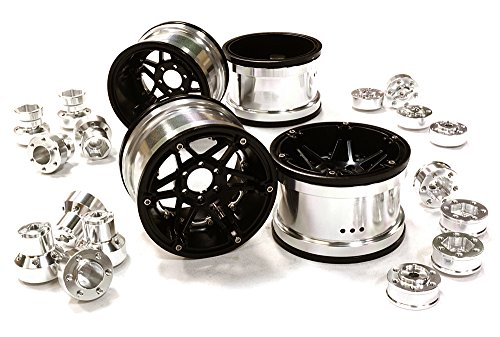 ups C26523SILVER Billet Machined 6 Spoke Wheels w/Multi Adapters for Most 2.2 Scale Rock Crawler ()