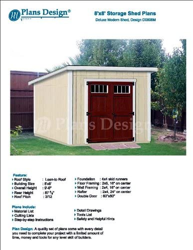 8 X 8 Deluxe Shed Plans Modern Roof Style Design D0808m Material List And Step By Step Included Woodworking Project Plans Amazon Com