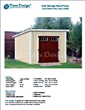 8' x 8' Deluxe Shed Plans, Modern Roof Style Design # D0808M, Material List and Step By Step Included