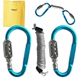 Yuauy 2 pcs Zine-alloy Blue Lock Carabiners Resettable 3 Dial Digit Combination Password Code Lock Padlock for Suitcase Luggage Travel Baggage Backpack + Spring Reminder Cable