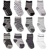 SuPoo 12 Pairs Baby Socks Non Skid Baby Cotton Socks Soft Anti-Slip Socks Baby Toddlers