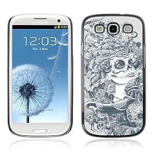 CQ Tech Phone Accessory: Carcasa Trasera Rigida Aluminio Para Samsung Galaxy S3 i9300 - Sugar Skull Abstract Art