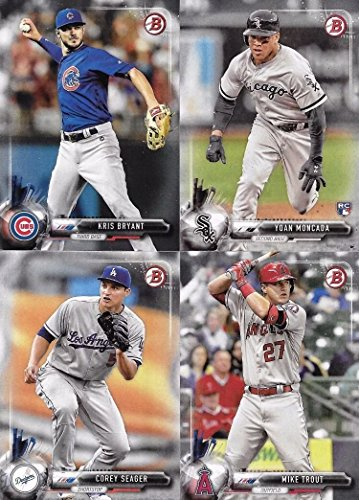 2017 Bowman Baseball Series Complete Mint 100 Card Set made by Topps with Rookies and Stars including Bryce Harper, Mike Trout, Aaron Judge, Andrew Benintendi plus (Mint Baseball Bowman Cards)