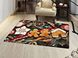 smallbeefly Gingerbread Man Bath Mats Carpet Delicious Homemade Cookies Dried Fruits and Bakery Tools Festive Rustic Floor Mat Pattern Multicolor